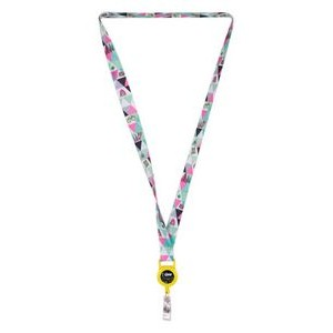 "3/4"" HT Sublimation Lanyard w/ Retractable Badge Holder"